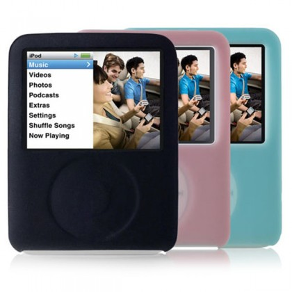 Belkin Silicone sleeve for iPod nano 3G - pack x 3 (black, pink & blue)
