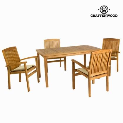 Masă de tec cu 4 scaune by Craftenwood