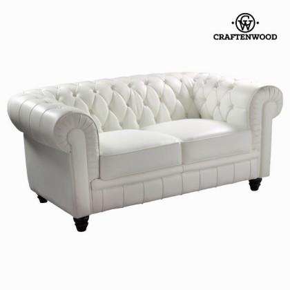 Canapea cu 2 locuri albă tapisată by Craftenwood