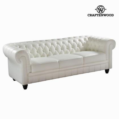 Canapea cu 3 locuri albă tapisată by Craftenwood