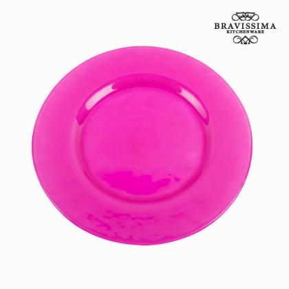 Farfurie întinsă din sticlă roz - Crystal Colours Kitchen Colectare by Bravissima Kitchen