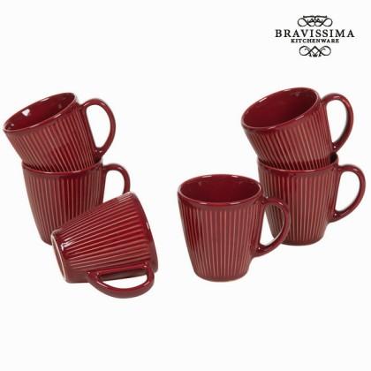 Carafă cu mâner set de 6 bordeaux - Kitchen's Deco Colectare by Bravissima Kitchen