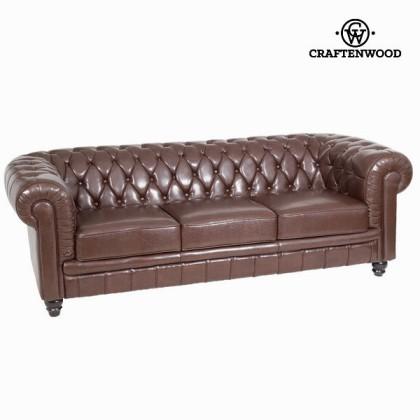 Canapea cu 3 locuri tapisată maro by Craftenwood