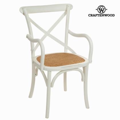 Scaun cu brațe din lemn alb by Craftenwood