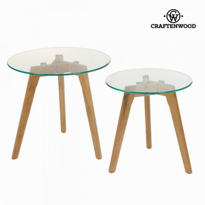 Set de 2 mase din stejar și din sticlă - Modern Colectare by Craftenwood