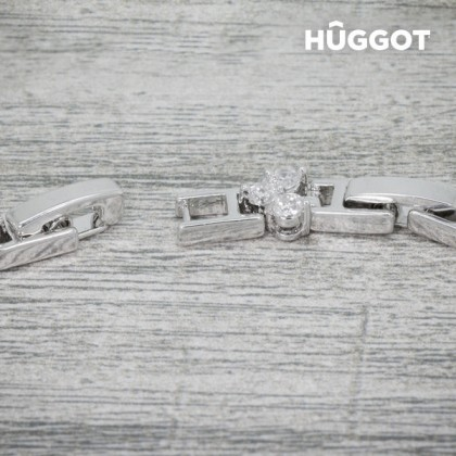 Brăţară Placată cu Rodiu cu Zirconii Chained Love Hûggot (18 cm)