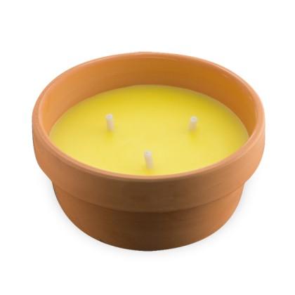 Lumânare Citronella 15 cm în Castron de Teracotă
