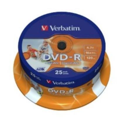 Verbatim DVD-R 4.7GB 16x Imprimabile Cutie 25unități