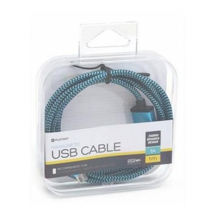 PLATINET CABLU Plasă microUSB-USB 1M Cutie Albastru