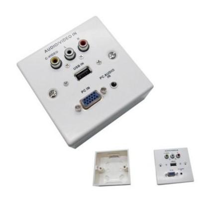 placă de perete VGA+JACK3.5+USB2.0+3xRCA Alb