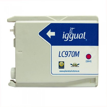 iggual Cartuș de Cerneală Reciclat Brother LC970M purpuriu
