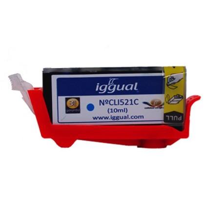 iggual Cartuș de Cerneală Reciclat Canon CLI521C Albastru