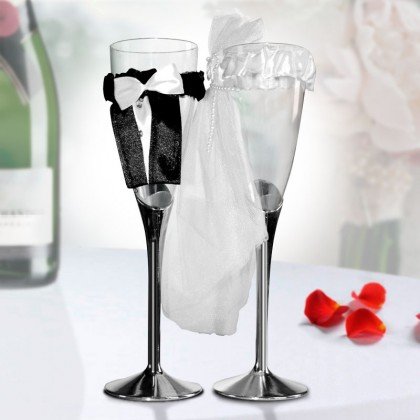 Pahare de Șampanie Mireasă și Mire