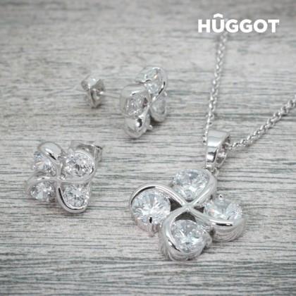 Set Placat cu Rodiu: Pandantiv şi Cercei cu Zirconii Clover Hûggot (45 cm)