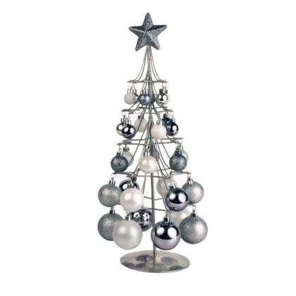 Pom de Crăciun Argintiu cu Bile