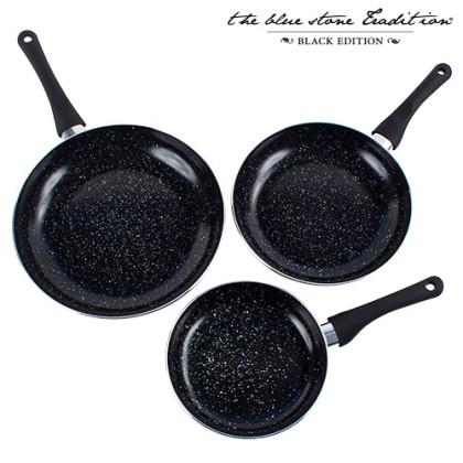 Tigăi Black Stone Pan Acoperite cu Strat din Piatră (3 Bucăţi)