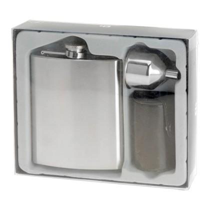 Set Sticlă Plată din Oțel cu Accesorii (7 piese)